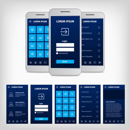 Colección de vector de diseño plano moderno. Concepción de interfaz de usuario móvil. Ilustración EPS10. Ui kit de aplicaciones móviles. Foto de archivo - 37125286