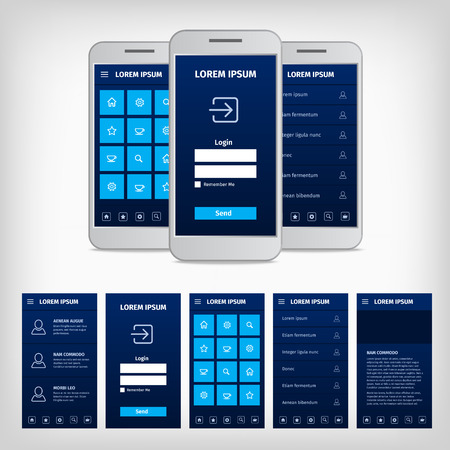 Vector collection of modern flat design. Conception of mobile user interface. EPS10 illustration. Mobile app ui kit.