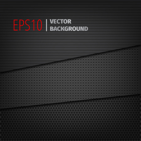metal background: Set of vector dark black backgrounds.