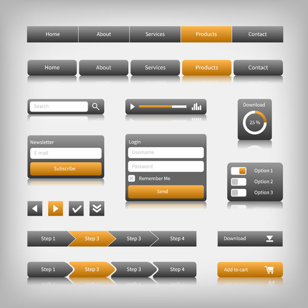 internet button: Web design elements with reflection. Login, search, 3 option. Illustration