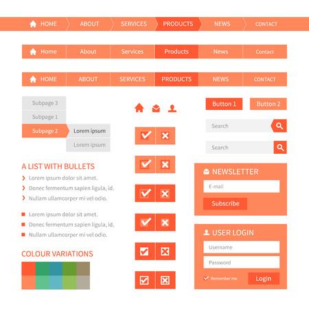navigation buttons: Flat web design elements. Navigation, buttons, login. Colour variations. Editable vector format. Illustration