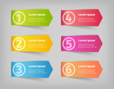 Six numbered steps options vector 3d stickers. Colorful modern design banners.