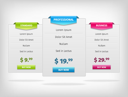 colour chart: Web price banners for business plan. Comparison tables. Illustration