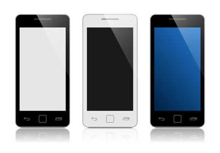 iphon: Realistic mobile phone collection isolated on white with blank screen.