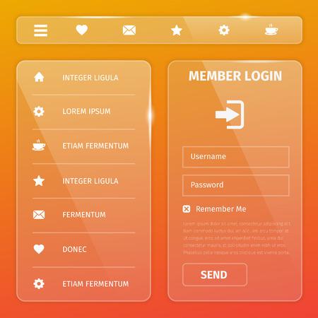 Transparent mobile and web UI template design. Vector eps10 illustration. Member login, horizontal and vertical navigation, button, icons.