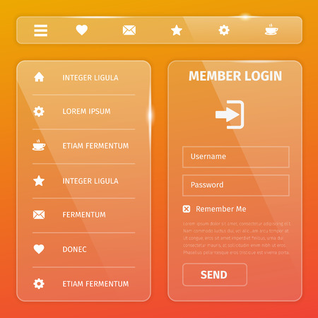 login button: Transparent mobile and web UI template design. Vector eps10 illustration. Member login, horizontal and vertical navigation, button, icons.
