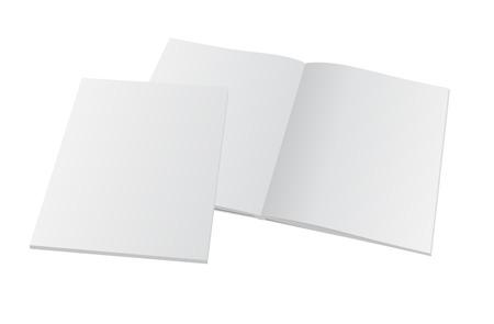 Blank magazine aperto con coperchio. Vector modello mockup illustrazione.