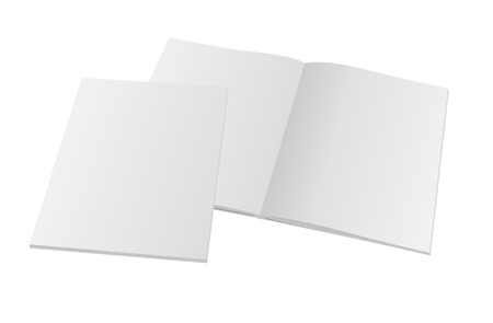 Blank opened magazine with cover. Vector mockup template illustration. Çizim