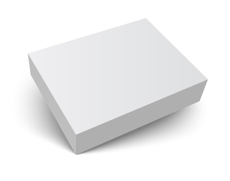 Blank gray box isolated on white. Packaging design 3d template. Vector illustration. 矢量图像