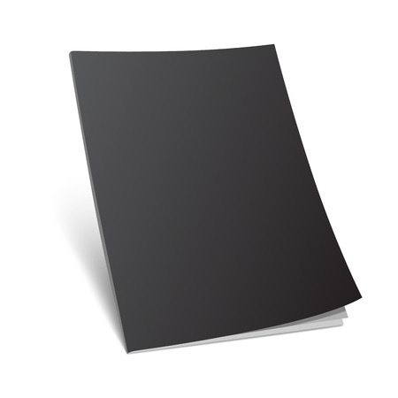 Blank black magazine cover on white. Standing 3d vector illustration with curled corner.