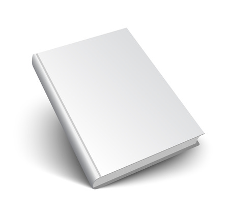 Blank book mockup with shadow isolated on white. 3d vector illustration. Ilustracja