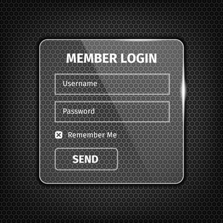 login button: Transparent glossy member login box with button on dark textured background.