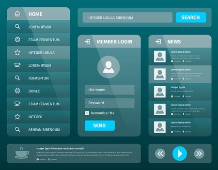 Transparent mobile user interface template design. Layout for mobile or website. Vector eps10 illustration. Member login and News.