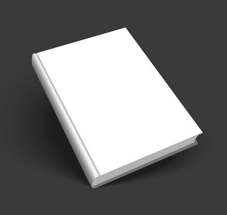 Blanco boek mockup met schaduw geïsoleerd op een donkere zwarte achtergrond. Stock Illustratie