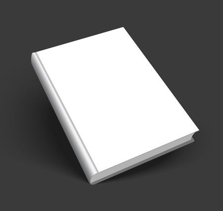 Blank book mockup with shadow isolated on dark black background.  Ilustracja