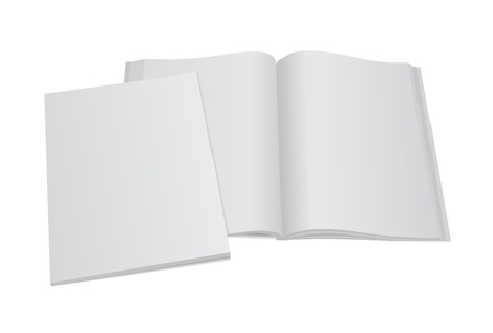 Blank opened magazine mockup template with blank cover.