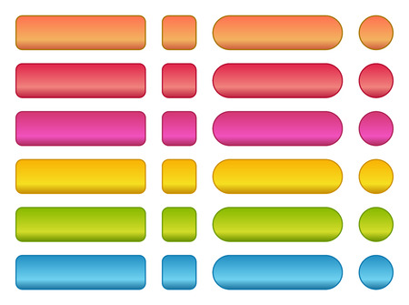 Colorful set of buttons in different shapes. Square, rectangle, circle.