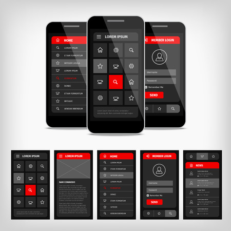 Vector set van de moderne platte design. Template mobiele user interface. Stock Illustratie