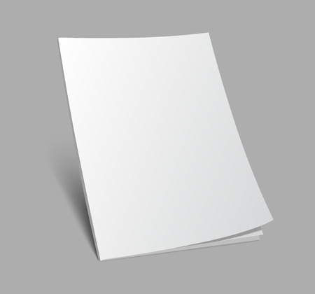 white space: Blank 3d standing magazine or brochure cover on gray background. Vector illustration with soft shadow.