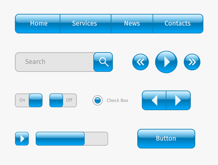 search bar: Set of blue web elements design. Buttons, horizontal navigation, search, play.