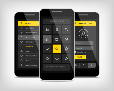 Mobile phones with user interface design template. Realistic 3d vector illustration. Yellow buttons. Vectores