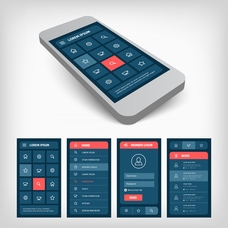 Mobile phone with user interface design template. 3d vector illustration. Modern muted color blue and red design. 矢量图像