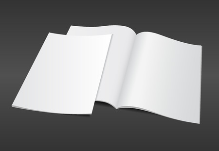 open magazine: Blank opened A4 magazine mockup template with blank cover on dark background. Realistic editable vector EPS10 illustration for your design. Stock Photo