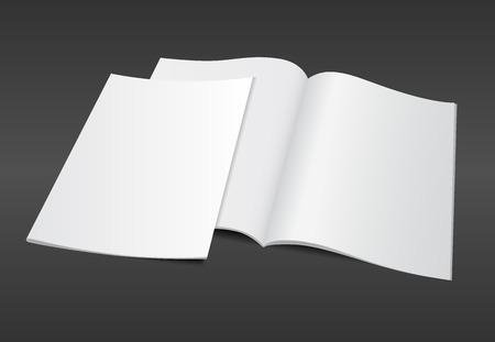 Blank otworzył magazyn A4 szablon makieta z pustą pokrywy na ciemnym tle. Realistyczne ilustracji wektorowych można edytować eps10 projekt. Zdjęcie Seryjne