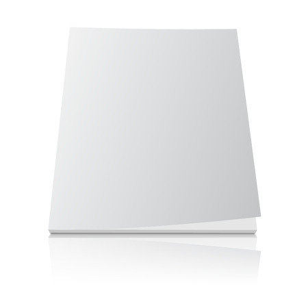Blank magazine template cover with curled corner and reflection effect on white background.