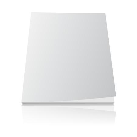 Leeg tijdschrift sjabloon deksel met gekrulde hoek en reflectie effect op een witte achtergrond. Stockfoto