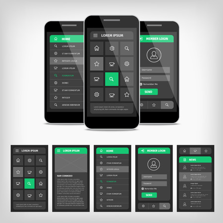 conception: Vector collection of modern flat design. Conception of mobile user interface. EPS10 illustration. Mobile app ui kit.
