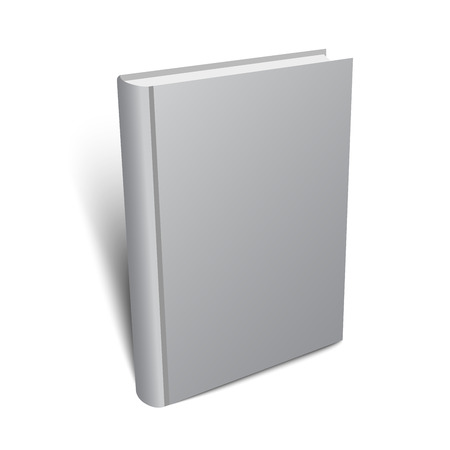 Standing gray book illustration for your design. Realistic vector mock-up.