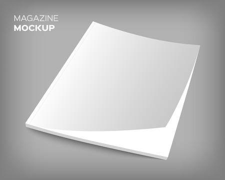 blank magazine: 3D blank magazine or brochure cover mockup. Realistic vector EPS10 illustration.