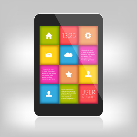User interface colorful design for mobile devices. Presentation with reflection. Vector