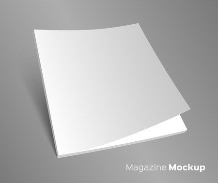 3D blank brochure cover. Realistic vector EPS10 illustration. Gray background. 矢量图像