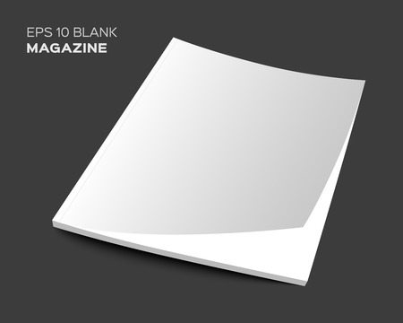 3D blank magazine or brochure cover mockup. Realistic vector EPS10 illustration.