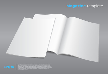 Blank brochure mockup template. Opened magazine with cover. Realistic vector EPS10 illustration. Gray background. Vettoriali