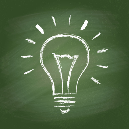 チョーク ボードの電球のベクトルの考えアイコン。手描きのグラフィック スタイルをチョークします。現実的なベクトル EPS10 の図。  イラスト・ベクター素材