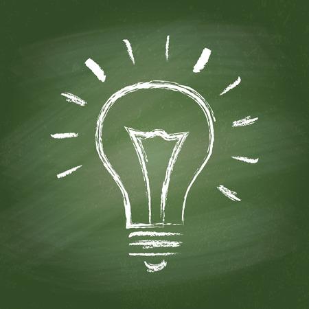 Light bulb vector idea icon on chalk board. Chalk hand-drawn graphic style. Realistic vector EPS10 illustration.