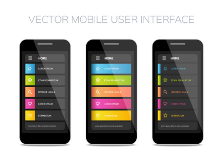 interface design: Vector mobile user interface design. Colorful ui layout. Set of home pages. Illustration