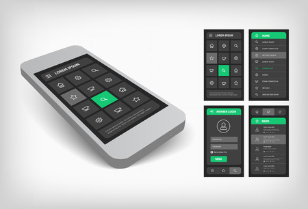 interface design: Visualization of user mobile interface design. Gray background with green buttons. Standing 3d mobile illustration. Illustration