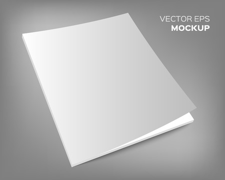 Isolated blank brochure or magazine mockup on grey background. Vector EPS 10 illustration. Ilustração