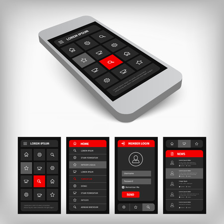 Visualization of modern user mobile interface design. Gray background with red buttons. 3d mobile illustration. Vector