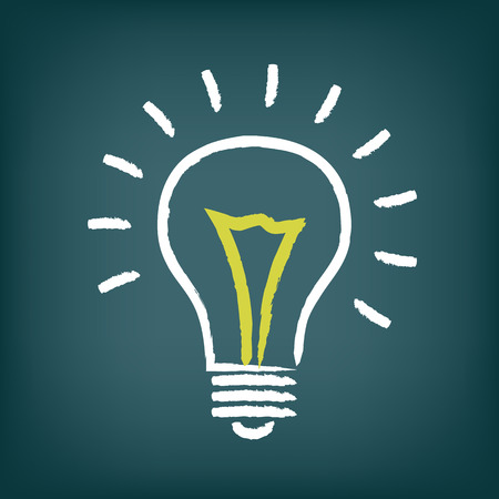 Chalk hand-drawn idea light bulb icon on gradient background
