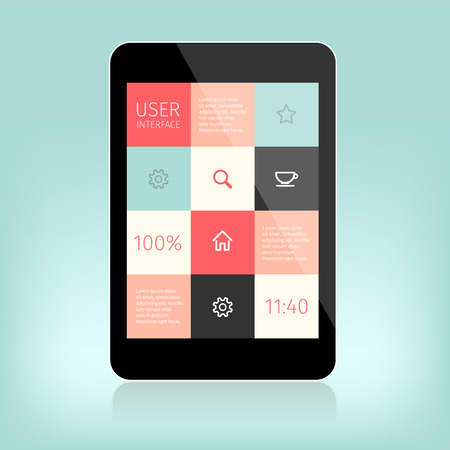 interface design: User interface design for mobile devices. Presentation with reflection on light green.