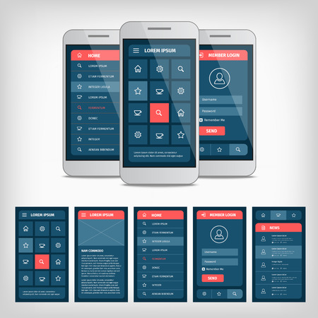 mobile application: collection of modern flat design. Conception of mobile user interface Illustration