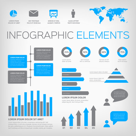 Blue and gray infographic elements. Collection of vector illustration elements with world map and icons. Illustration
