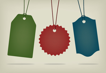 Blank cardboard textured pricing tags. Realistic  illustration. Set of different shapes. Vector