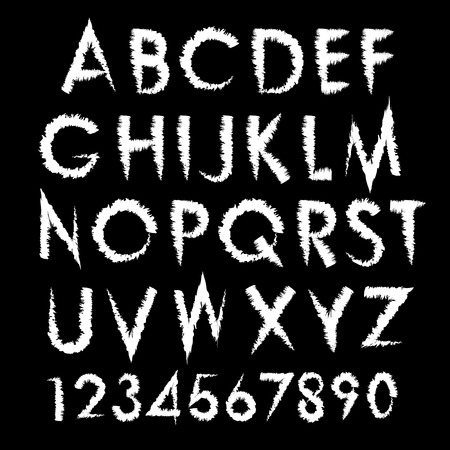 horror: Vector horror alphabet typography set. Font with numbers.