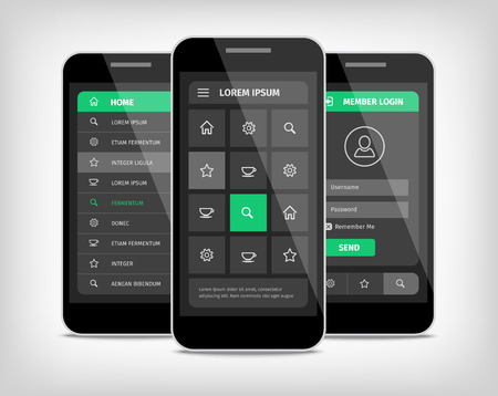 Visualization of user mobile interface design. Gray background with green buttons. Realistic mobile illustration.  イラスト・ベクター素材